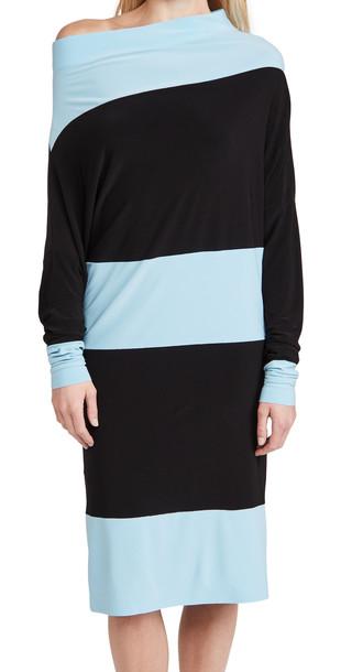 Norma Kamali Spliced All In One Dress in black / blue