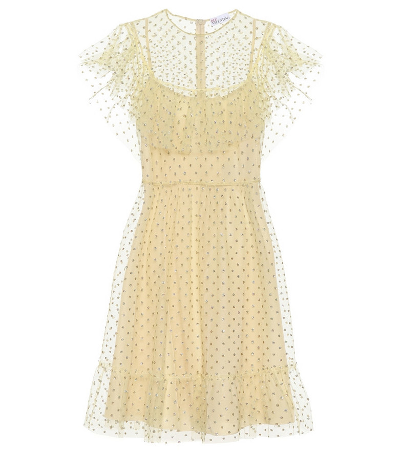 REDValentino Embellished tulle minidress in yellow
