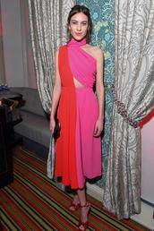 dress,pink dress,pink,red,red dress,alexa chung,celebrity,sandals,sandal heels,fashion week