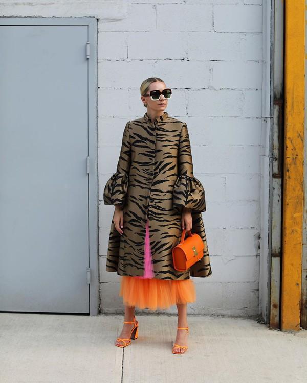 bag orange bag sunglasses coat printed coat animal print sandals