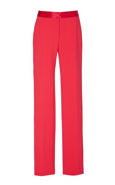 Carolina Herrera Satin-Trimmed Cady Straight-Leg Pants Size: 0 in red