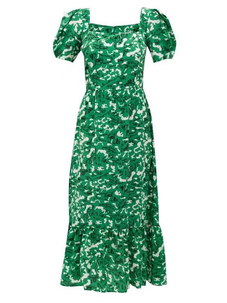 Hvn - Fromer Farm-print Silk-crepe Dress - Womens - Green Print