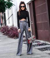 top,cropped turtleneck,black turtleneck top,high waisted pants,grey pants,wide-leg pants,gucci bag,shoulder bag,black sunglasses