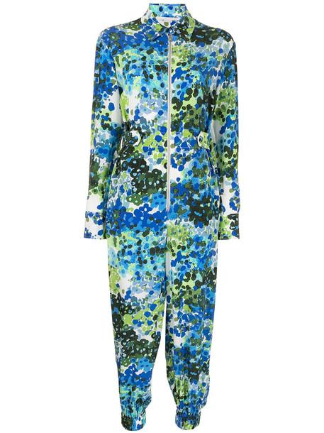 Stella McCartney floral-print silk jumpsuit - Blue