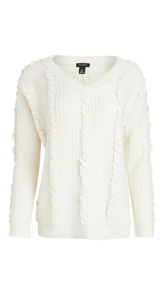 Club Monaco Woven Detail Sweater in ivory