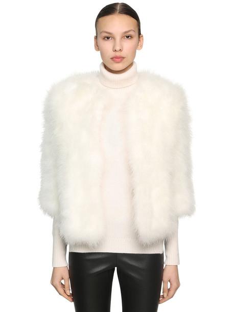 YVES SALOMON Cropped Sleeve Feather Jacket in white