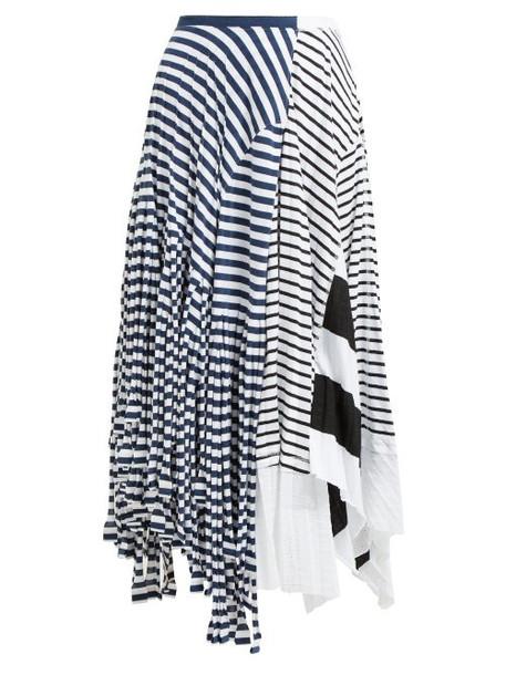 Loewe - Contrasting Stripe Print Cotton Blend Skirt - Womens - Navy White