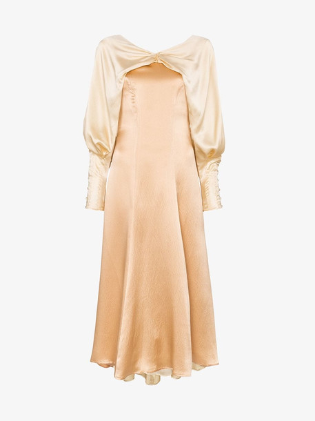 Rejina Pyo Contrasting collar draped dress in neutrals