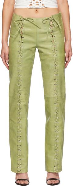 Saks Potts Green Leather Christina Pants
