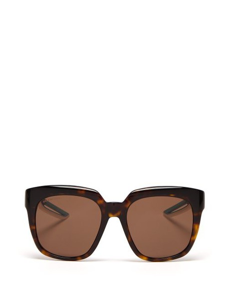 Balenciaga - Tortoiseshell Effect Acetate And Rubber Sunglasses - Womens - Tortoiseshell