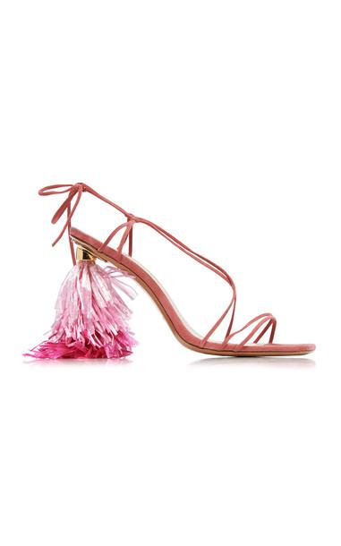 Jacquemus Raphia Tasseled-Heel Suede Sandals Size: 37 in pink