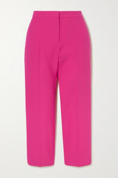 Alexander McQueen - Cropped Wool-blend Slim-leg Pants - Pink