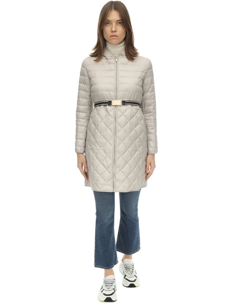 MAX MARA 'S Long Hooded Nylon Down Coat in beige