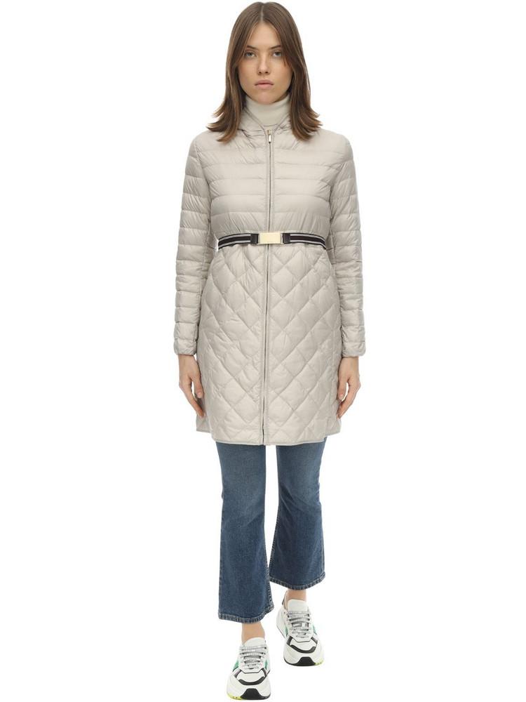 MAX MARA 'S Long Hooded Nylon Down Coat in beige