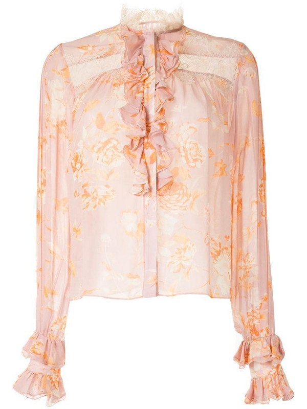 Alexis floral print crochet detail shirt in pink