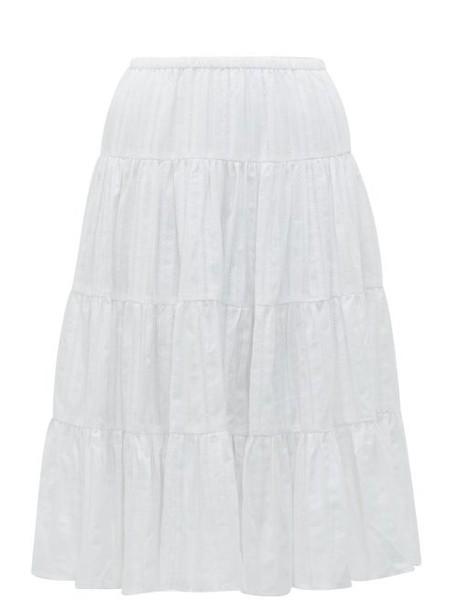 Loup Charmant - Falco Jacquard Stripe Cotton Midi Skirt - Womens - White
