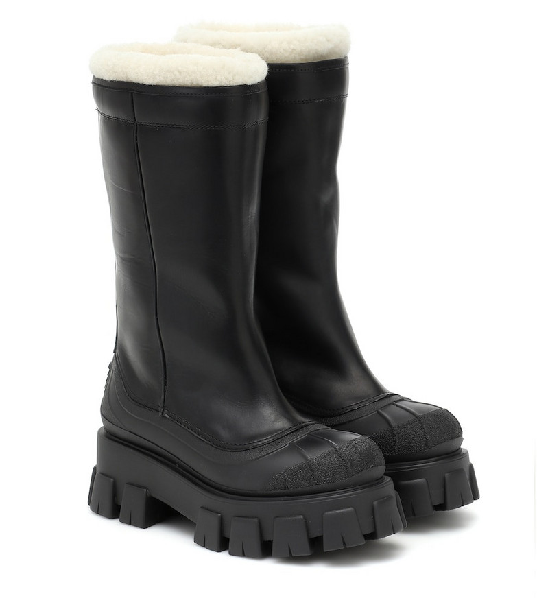 Prada Monolith shearling-lined leather boots in black