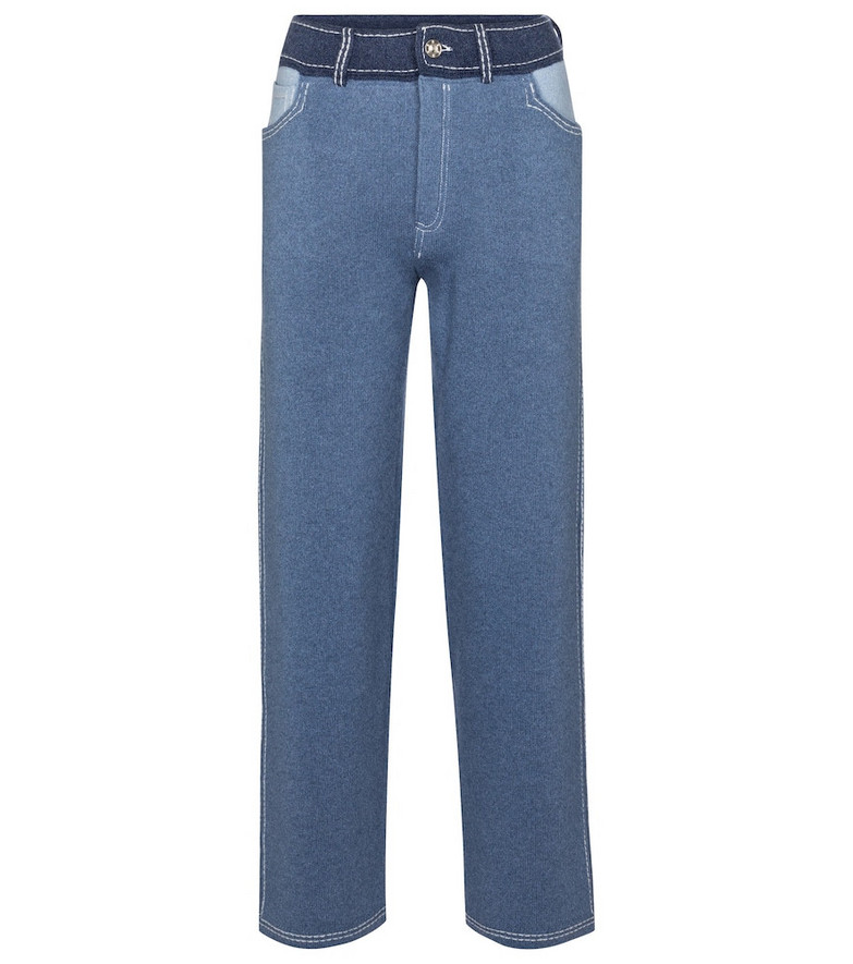 Barrie Cashmere and cotton wide-leg pants in blue
