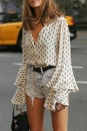 blouse,printed blouse,bell sleeves,long sleeves,streetwear,flowy,cute,chic,summer