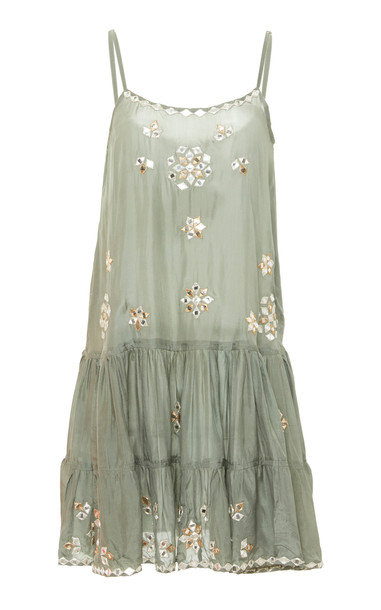 Juliet Dunn Strappy Embroidered Silk Dress in green