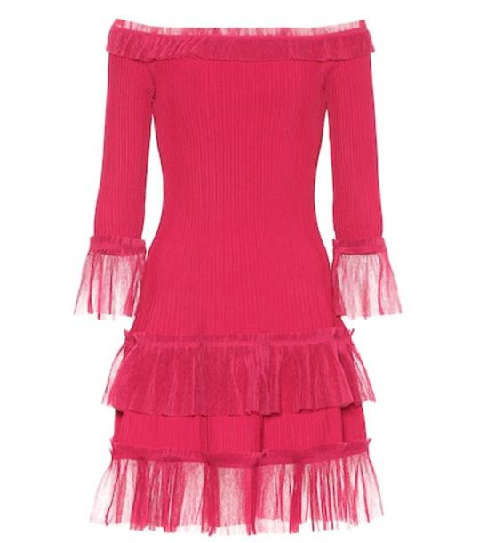 Jonathan Simkhai Off-the-shoulder knit minidress in pink