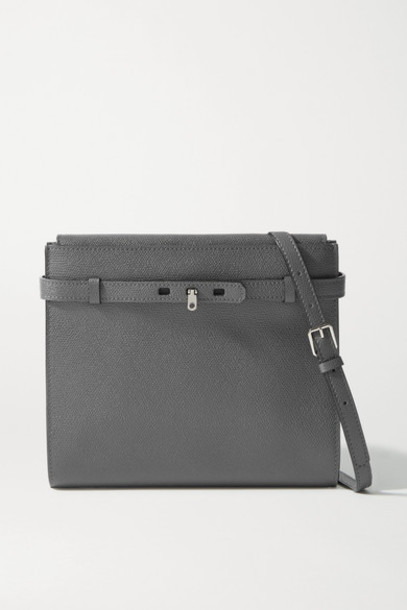 Valextra - Brera B-tracollina Textured-leather Shoulder Bag - Anthracite