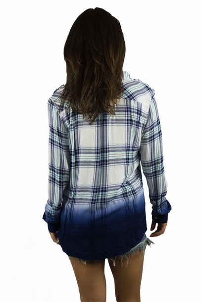 blouse plaid blue ombre fashion summer long sleeves casual freevibrationz