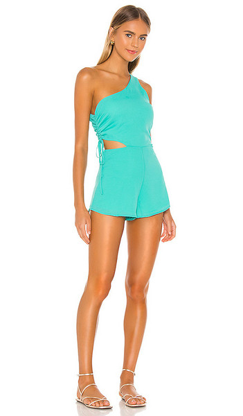 superdown Aimey One Shoulder Romper in Green in turquoise