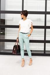one little momma,blogger,pants,shoes,jewels,sandals,blue pants,summer outfits