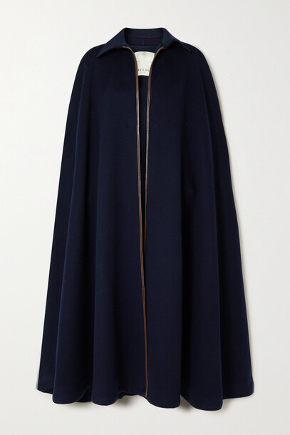 Giuliva Heritage - Leather-trimmed Cashmere Cape - Blue