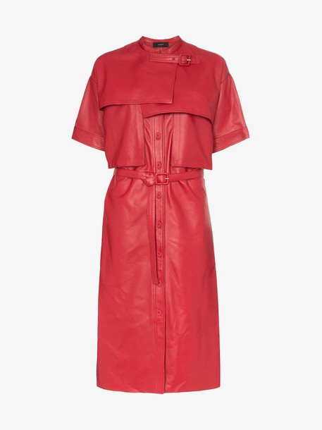 Joseph Riley collarless short-sleeved leather trench coat in red