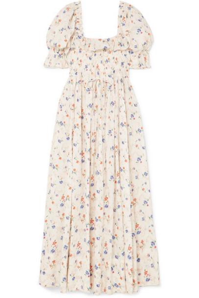 DÔEN - Sol Shirred Floral-print Swiss-dot Cotton-voile Maxi Dress - Cream