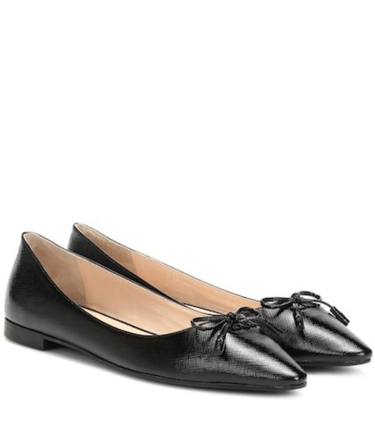 Prada Embossed leather ballet flats in black