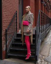 jacket,blazer,mango,plaid,mini skirt,plaid skirt,set,tights,sandals,pink bag,belt bag,camel coat,turtleneck