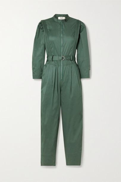 SEA - Clara Belted Cotton-blend Poplin Jumpsuit - Dark green