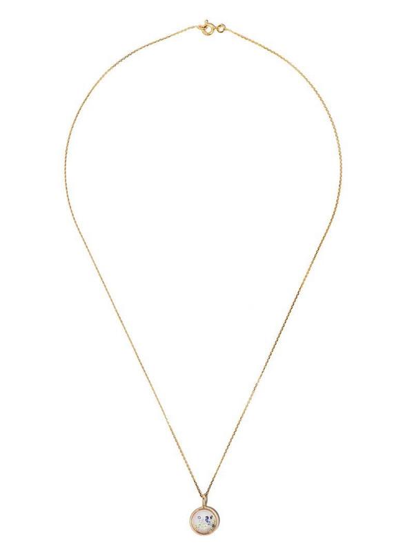 Aurelie Bidermann 18kt yellow gold Chivor mini fancy sapphire medallion necklace