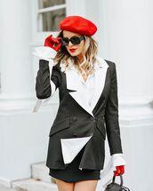 jacket,black blazer,double breasted,karl lagerfeld,black skirt,mini skirt,tights,beret,bag