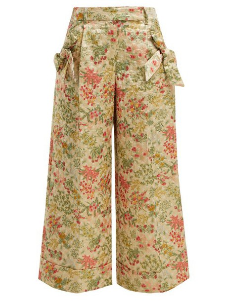 Simone Rocha - Bow Trim Floral Brocade Trousers - Womens - Green Multi