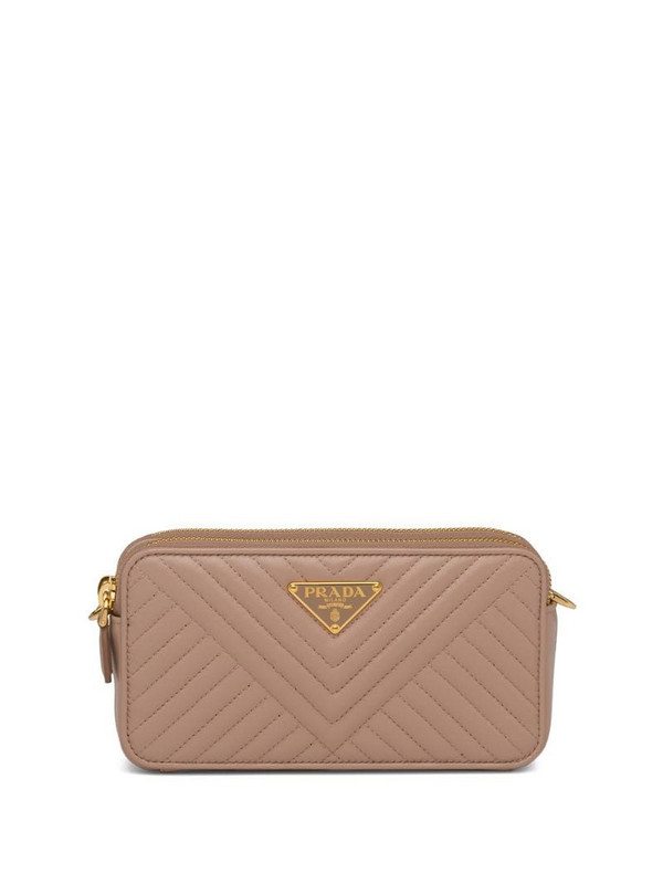 Prada mini quilted shoulder bag in neutrals