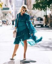 dress,midi dress,asymmetrical dress,long sleeve dress,pumps,white bag