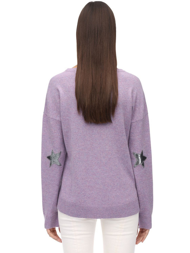 ZADIG & VOLTAIRE Cashmere Knit Sweater W/elbow Patches in lilac