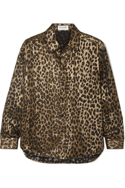 SAINT LAURENT - Leopard-print Silk-blend Shirt - Black