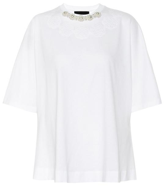 Simone Rocha Embellished cotton T-shirt in white