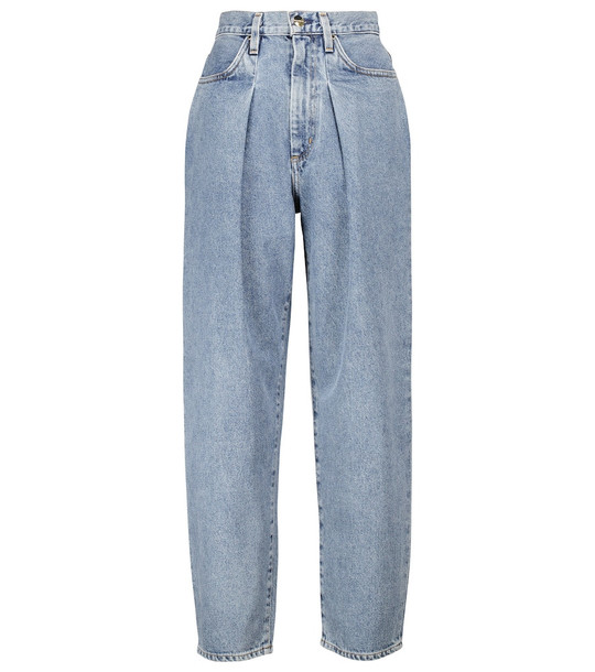 Goldsign The Pleat Curve tapered jeans in blue