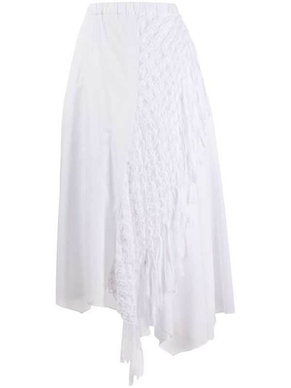 Zucca asymmetric midi skirt in white