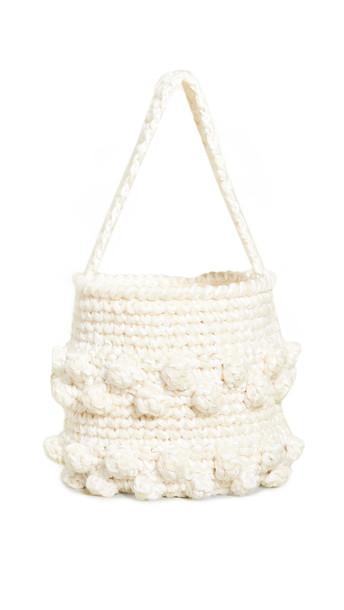 Caterina Bertini Woven Bucket Bag in white