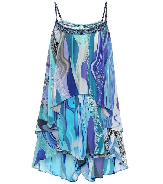 Camilla Printed silk playsuit in blue