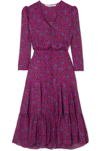 Veronica Beard - Lasanna Tiered Floral-print Silk Crepe De Chine Midi Dress - Purple