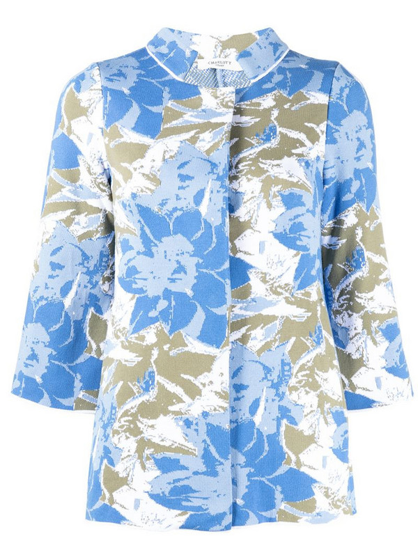 Charlott floral intarsia cardigan in blue