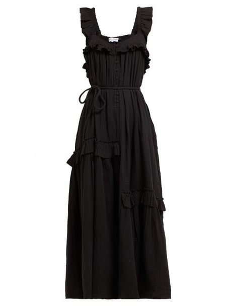 Apiece Apart - Lypie Ruffled Cotton Maxi Dress - Womens - Black